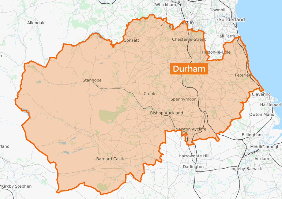 Map of County Durham (unitary authority) adapted from OpenStreetMap: https://www.openstreetmap.org/relation/88067#map=10/54.6857/-1.7976&layers=T