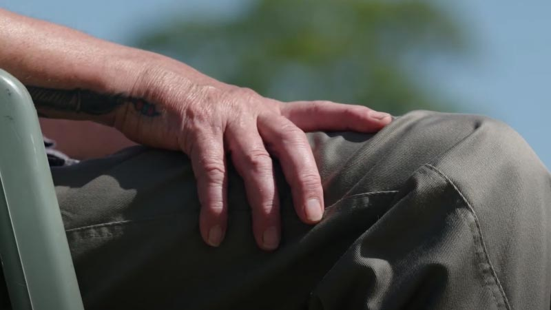 Close-up of Neil's hand