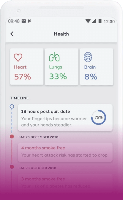 screenshot of the Quit Genius app on a smartphone